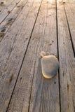 小卵石脚步在木板条的 免版税库存照片