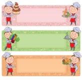 小厨师用食物和饭食 免版税库存照片