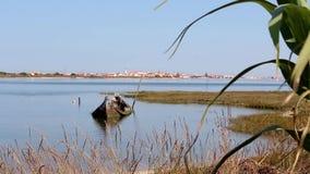小和被放弃的凹下去的小船在出海口,包围由植被 天际的小古雅镇 股票录像