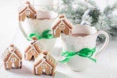 小和逗人喜爱的姜饼村庄当圣诞节快餐 免版税库存图片