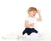 小哭泣的女孩画象。 库存图片