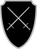 小圆盾克服的骑士剑 图库摄影