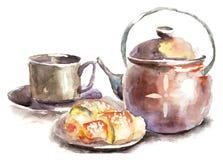 小圆面包杯子茶 向量例证