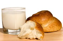 小圆面包牛奶 库存图片
