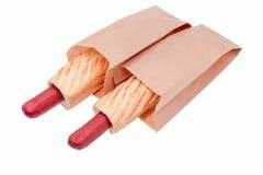 小圆面包用在一个纸袋的香肠 库存照片