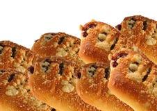 小圆面包用果酱和碎屑 免版税库存图片