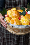 小圆面包用苹果果酱 库存照片
