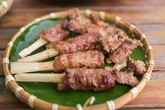 小圆面包的查家烤猪肉在越南 免版税库存照片