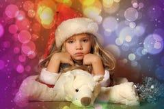 小圣诞老人女孩 库存图片