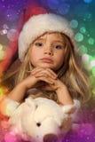 小圣诞老人女孩 免版税库存照片