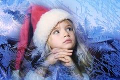 小圣诞老人女孩 免版税库存图片