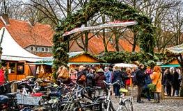 小圣诞节市场在曼斯特是横跨Altstadt驱散的五个分明市场之一,德国 免版税库存照片