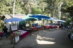 小地方商店销售纪念品和土产人和旅行家的在街道上在土井Pui部族村庄 免版税库存图片