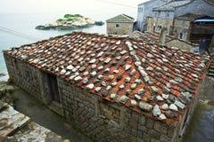 小块东部福建式buiding的屋顶,芹壁村 库存图片