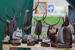 从小块材料的斯拉夫的义卖市场工艺 免版税库存照片
