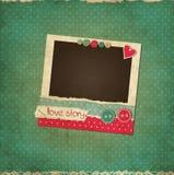小块葡萄酒与照片框架的爱卡片 向量例证