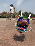 小型中国传统弯嘴水龙头蜈蚣风筝 库存图片