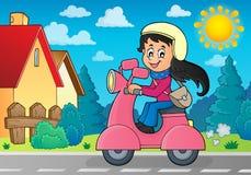 小型摩托车题材图象的3女孩 免版税图库摄影