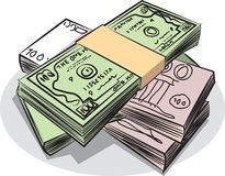 小堆美元和欧元 库存图片