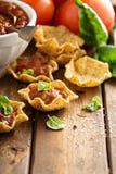 小墨西哥样式开胃菜做用玉米粉薄烙饼滚保龄球 免版税库存图片