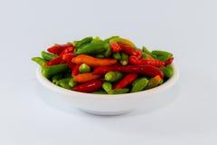 小多个颜色辣椒准备好在盘厨师 图库摄影