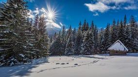 小多雪的客舱在日出的冬天, Tatra山 库存照片