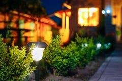 小太阳庭院光,灯笼在花床上 设计庭院庭院哈密尔顿新西兰 库存照片