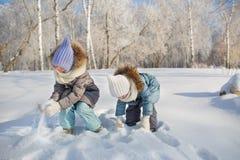 小女孩使用与雪在一个公园在冬天 库存照片