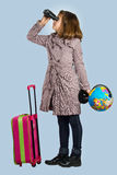 小女孩准备旅行 库存照片