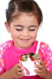 小女孩吃冰淇凌 图库摄影