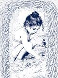 小女孩和海 免版税库存图片