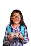 小女孩和照相机 免版税库存图片