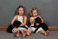 小女孩和狗在演播室 免版税库存图片
