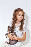 小女孩和狮身人面象猫 库存图片
