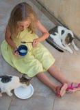 小女孩和猫 免版税库存图片