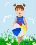 小女孩和球 免版税图库摄影