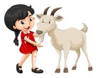 小女孩和白色山羊 免版税图库摄影
