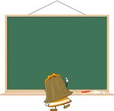 小女孩和空白的黑板 免版税库存照片