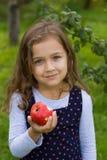 小女孩和红色苹果计算机 图库摄影