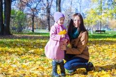 小女孩和年轻妈妈在黄色秋天停放  库存图片