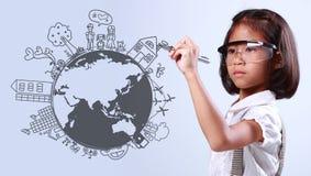 小女孩图画地球生态 免版税库存照片