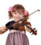小女孩在小提琴的作用音乐 免版税库存照片