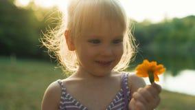 小女孩在日落的嗅花 影视素材