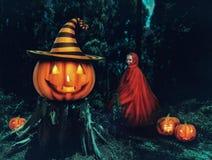 小女孩在森林里,当Helloween时 免版税库存照片