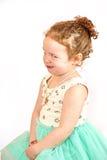 小女孩在绿色礼服的时装模特儿 库存图片
