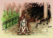小女孩坐有邪恶的鬼魂的老扔石头的台阶在她后 皇族释放例证