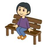 小女孩坐长凳动画片 库存图片