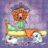 小女孩尖叫在她的睡衣 免版税库存照片