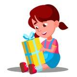小女孩开头礼物圣诞节礼物传染媒介 按钮查出的现有量例证推进s启动妇女 皇族释放例证