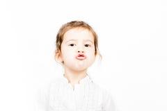 小女孩情感表情-亲吻 库存照片